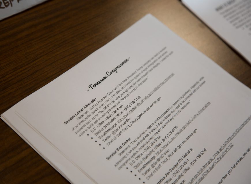 A script from the event with prepared statements to be read to various Tennessee officials.