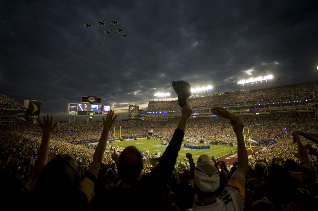 The U.S. Air Force Thunderbirds fly over Superbowl XLIII prior to kickoff in Tampa, Fla., Feb. 1.  (U.S. Air Force photo)