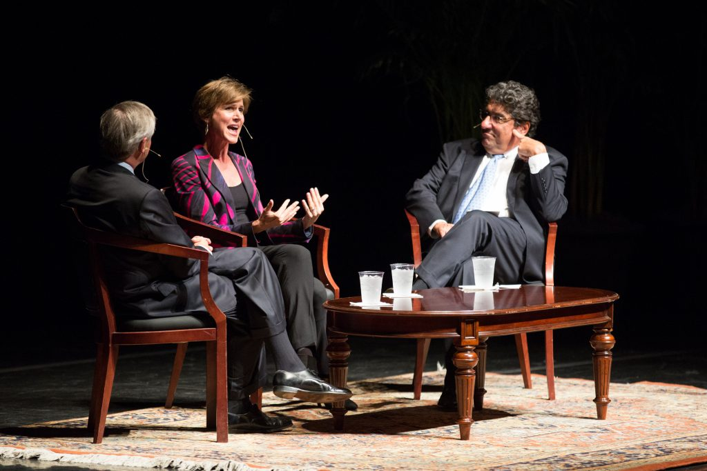 Former Acting Attorney General Sally Yates speaks with Chancellor Zeppos and Professor John Meacham as a part of the Chancellor's Lecture Series on Tuesday, September 26, 2017.