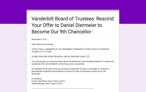Alumni and Students Circulate Petition Concerning the New Chancellor