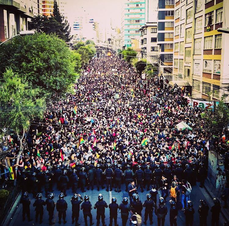 Protestors in La Paz, Bolivia during the 2019 political crisis.