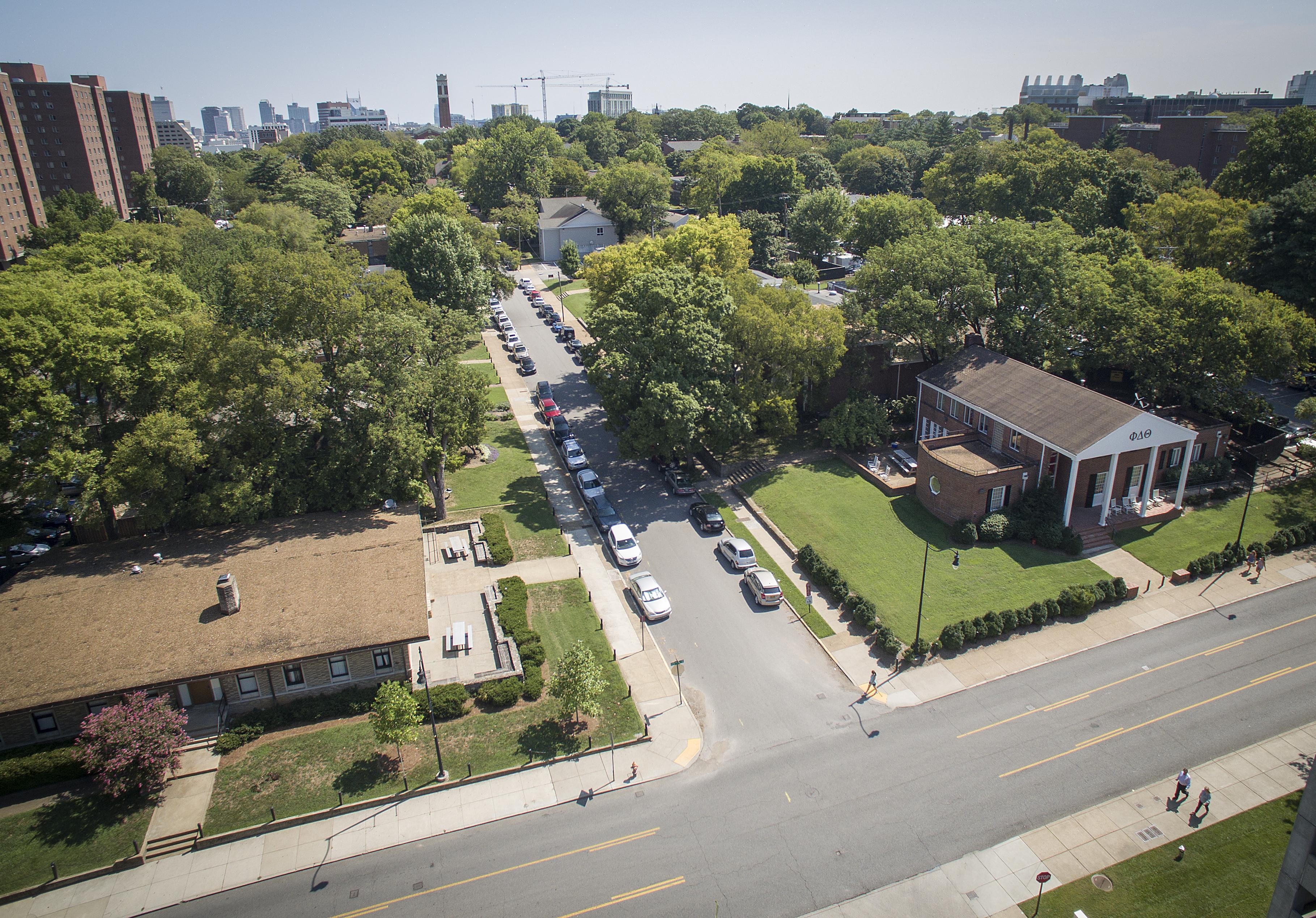 Aerial shot of Vanderbilt Greek Row.(John Russell/Vanderbilt University)