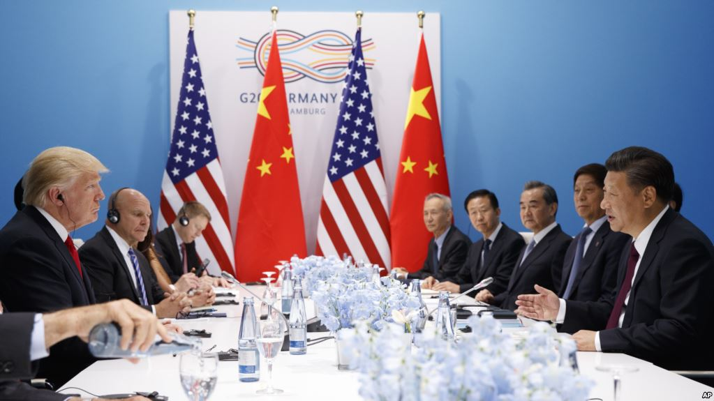 President Donald Trump meets with Chinese President Xi Jinping at the G20 Summit, Saturday, July 8, 2017, in Hamburg, Germany. (AP Photo/Evan Vucci)