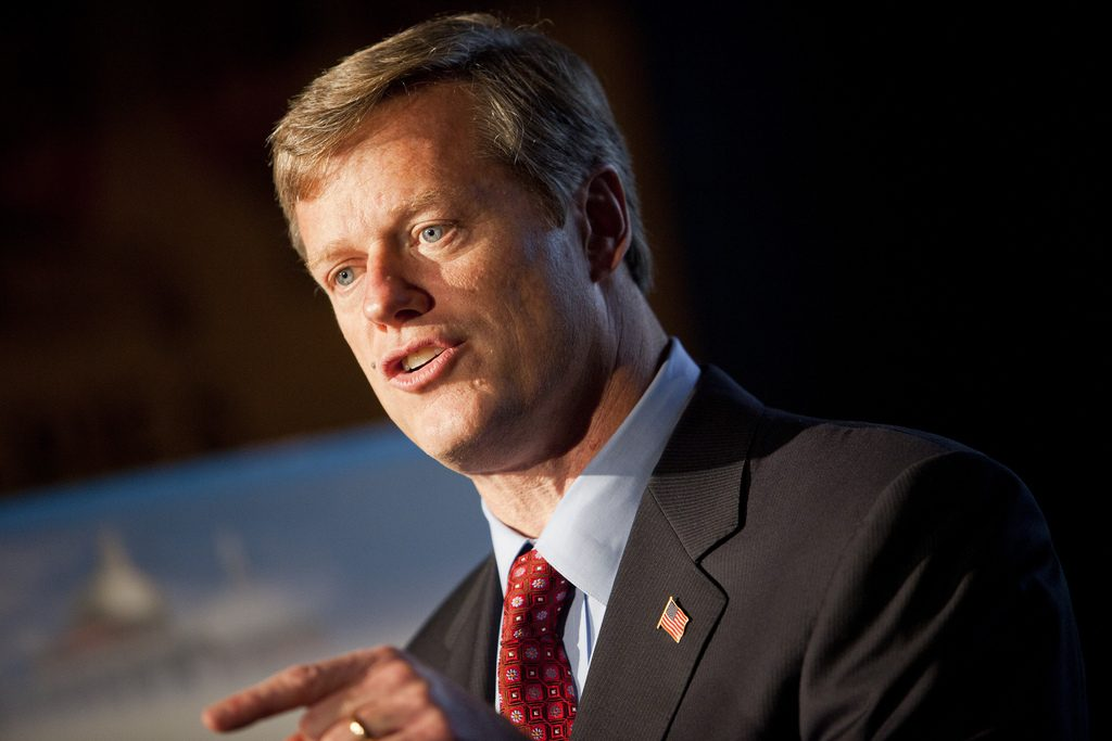 -Boston, MA, October 27 2010, - ..Candidate Charlie Baker speaks at a press conference at the Bleacher Bar in Fenway Park before talking with WBUR's Bob Oakes about the 2010 Massachusetts Gubernatorial campaign...(Photo by Dominick Reuter for WBUR)