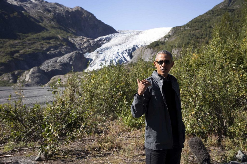 "President Barack Obama speaks to reporters during a hike at Exit Glacier in Kenai Fjords National Park in Alaska, Sept. 1, 2015. Obama toured the Kenai Fjords ""to view the effects of climate change firsthand,"" the White House said. (Doug Mills/The New York Times) XNYT92"