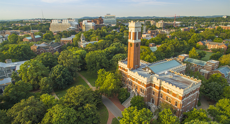 Aerial images of Vanderbilt Campus and Kirkland Hall (Daniel Dubois / Vanderbilt University)