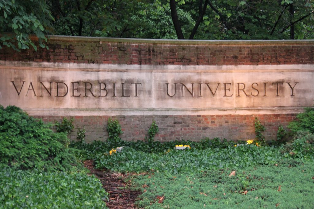 Nashville, USA - May 12, 2011: Vanderbilt University entrance sign.