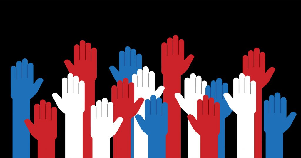 Vector+illustration+of+raised+up+hands+in+red+white+and+blue.
