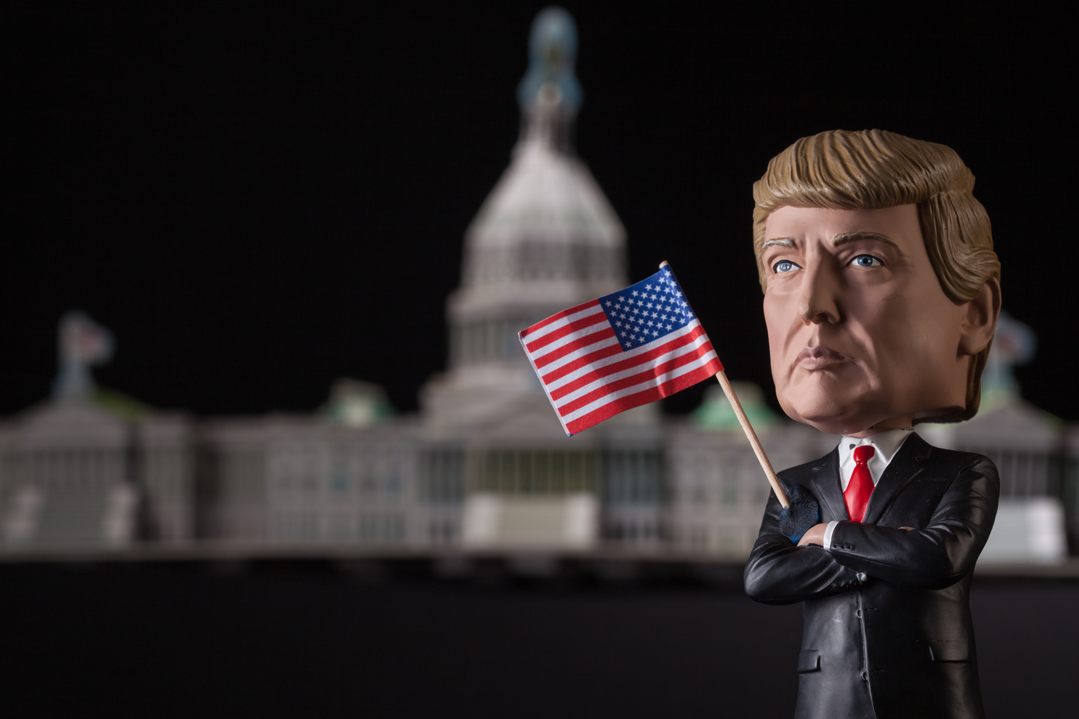 Lexington, KY, USA - November 8, 2016: Republican Donald Trump, as depicted by this lifelike bobblehead doll, won the 2016 American presidential election against Democratic candidate Hillary Clinton.  This realistic figure became popular prior to the 2016 presidential election and is one of several dolls marketed by Royal Bobbles.