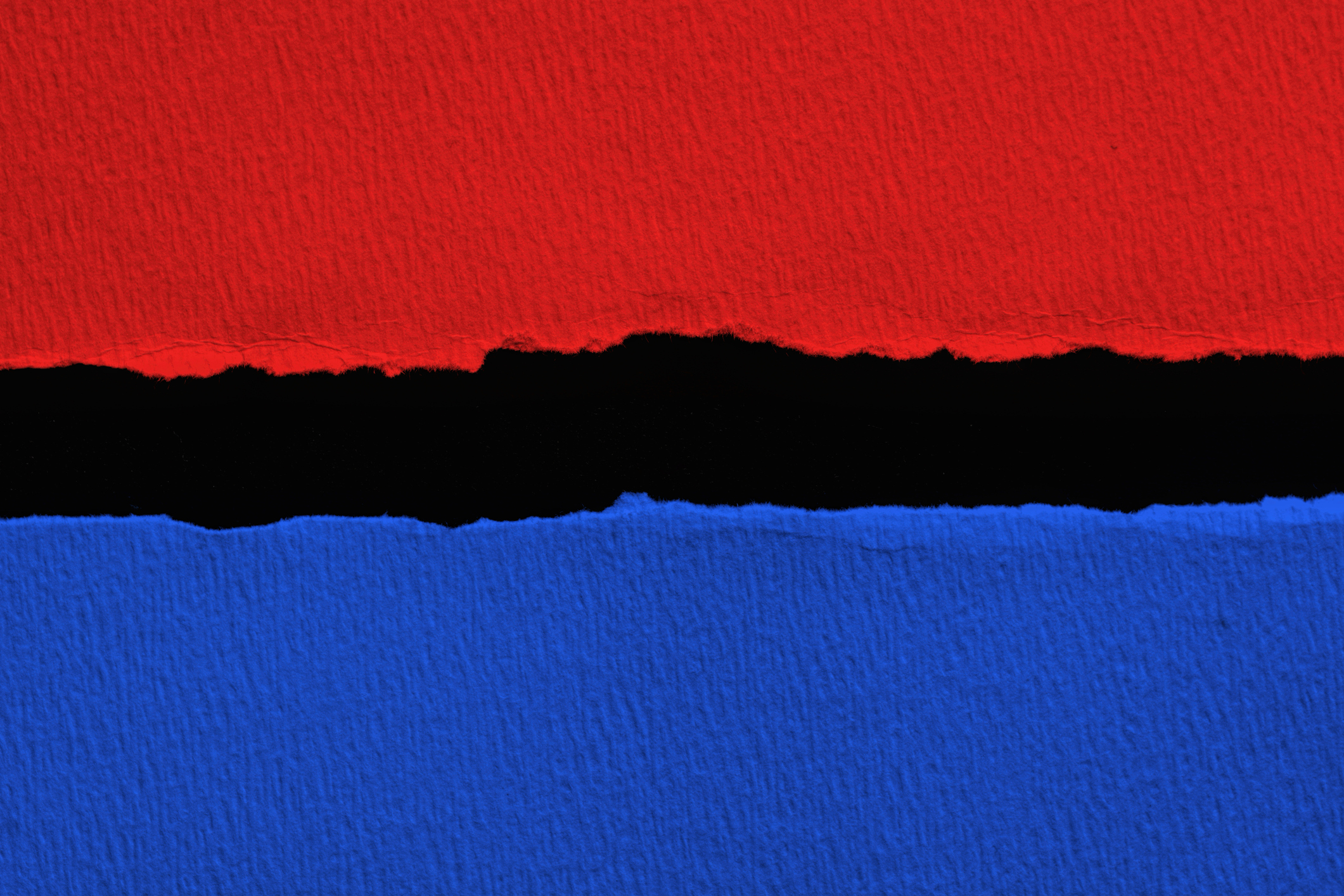 Blue vs red torn paper with black  space for text