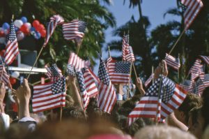 Flags waving at Presidential campaign rally