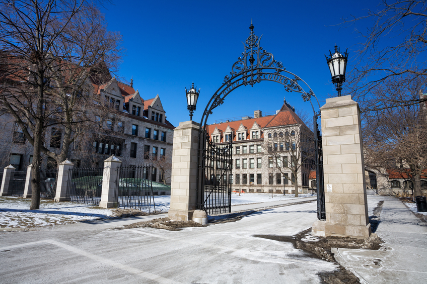 Chicago, USA - February 10, 2007: Entrance to the University of Chicago quadrangle, viewed from the street in Hyde Park, a community of Chicago on the South Side. Ornate gate and buildings in winter. No people.